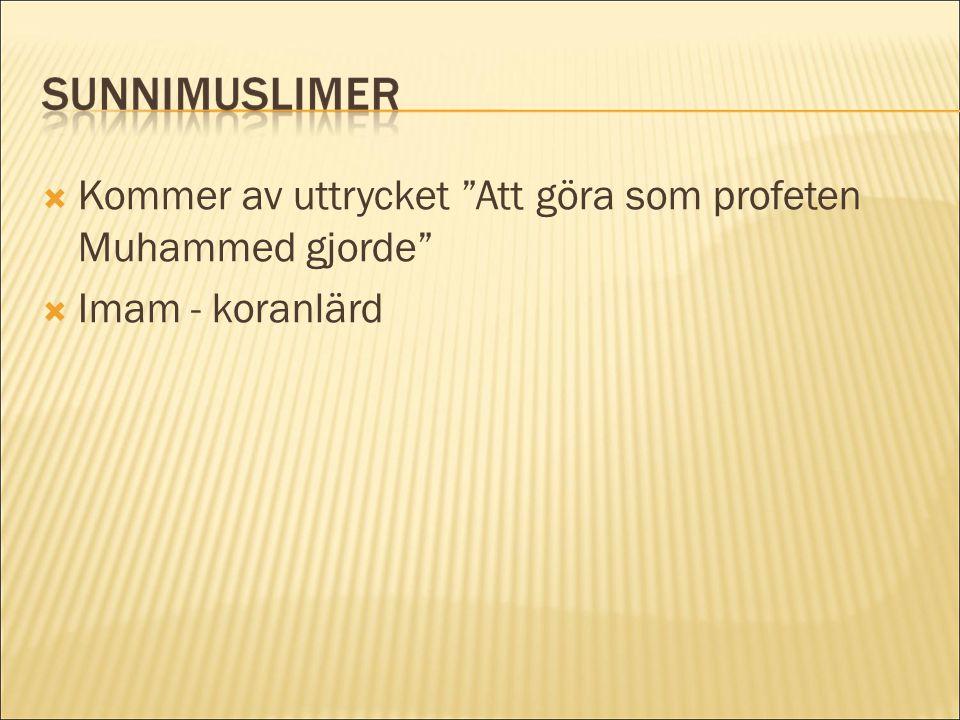 Kommer av uttrycket Att göra som profeten Muhammed gjorde