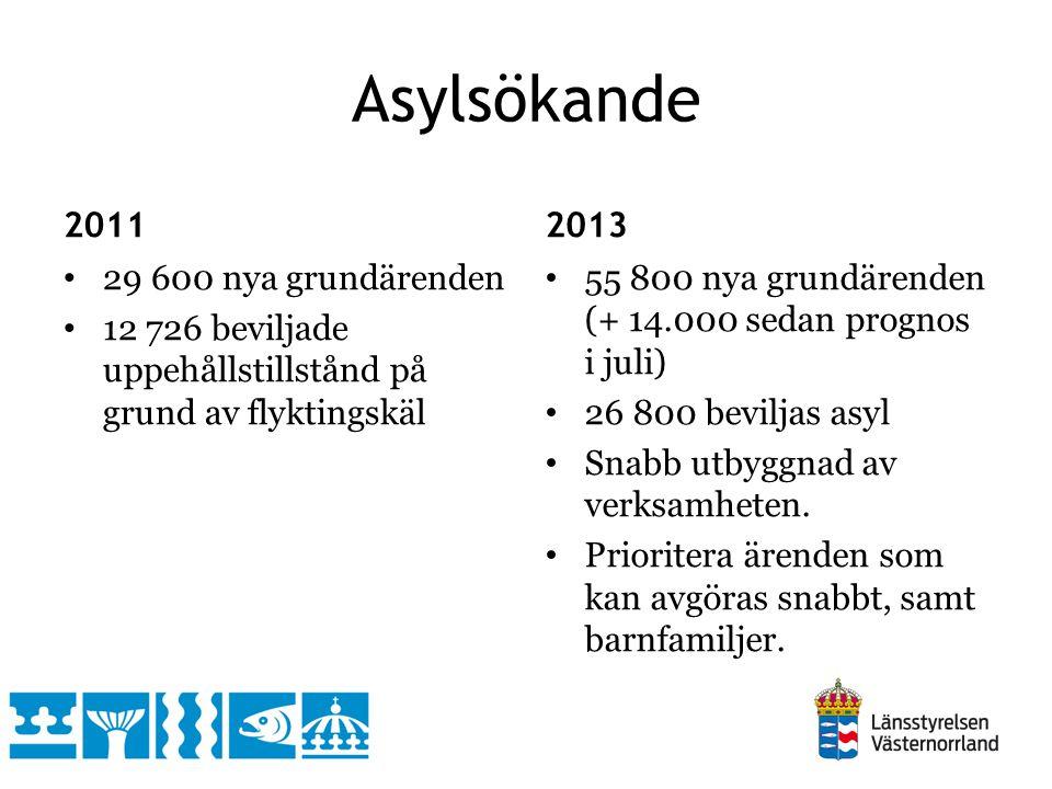 Asylsökande 2011 2013 29 600 nya grundärenden