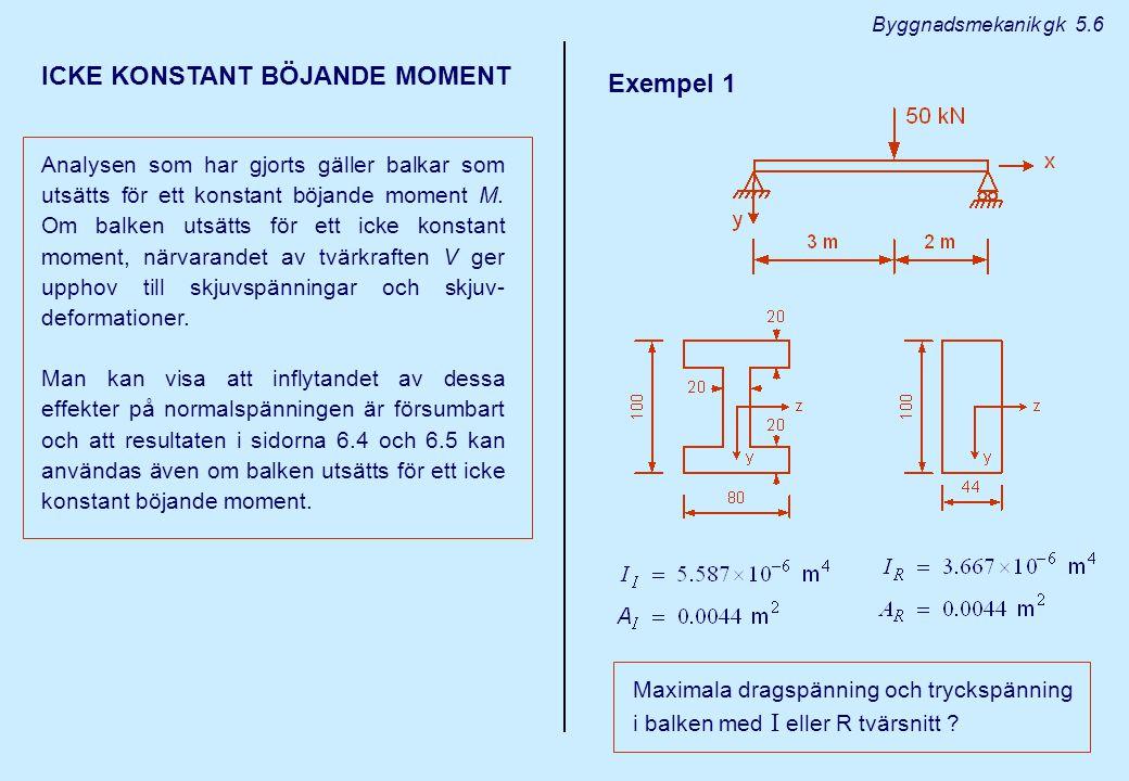 ICKE KONSTANT BÖJANDE MOMENT Exempel 1
