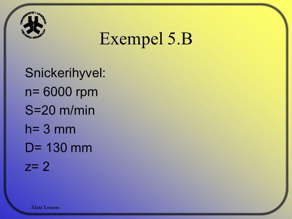 Exempel 5.B Snickerihyvel: n= 6000 rpm S=20 m/min h= 3 mm D= 130 mm