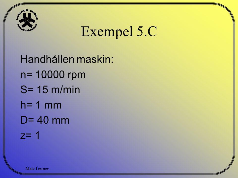 Exempel 5.C Handhållen maskin: n= 10000 rpm S= 15 m/min h= 1 mm