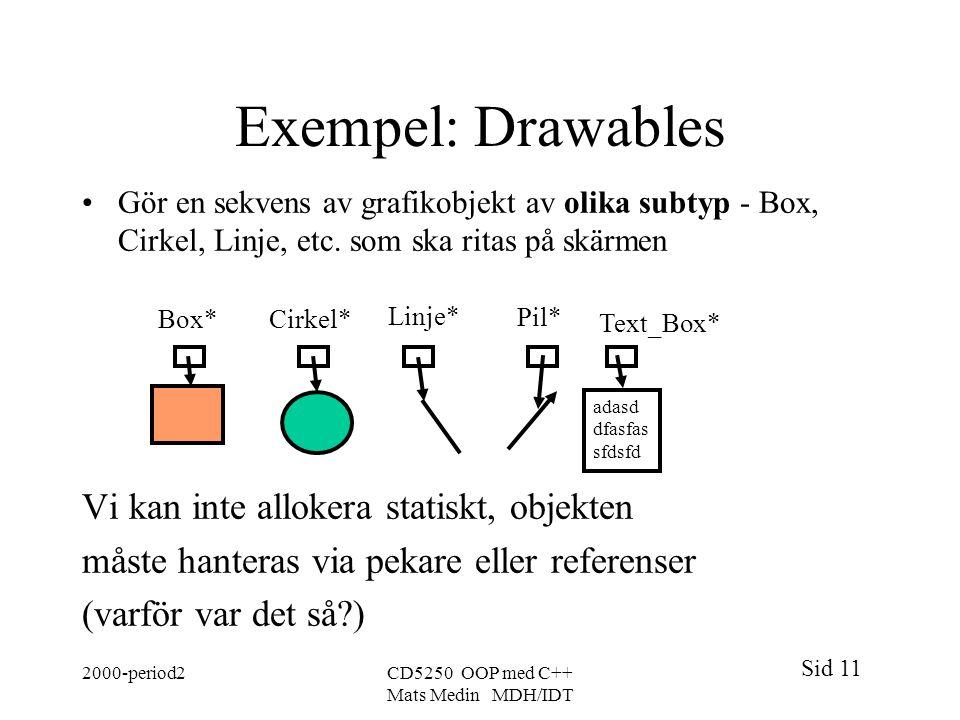 Exempel: Drawables Vi kan inte allokera statiskt, objekten