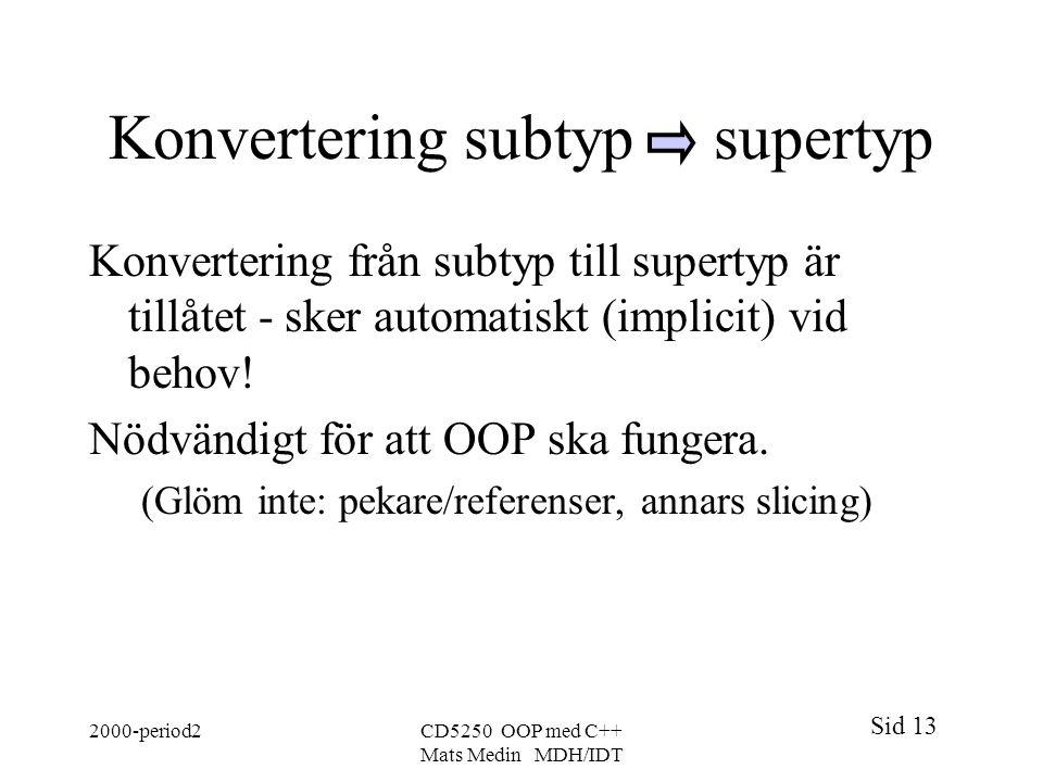 Konvertering subtyp supertyp
