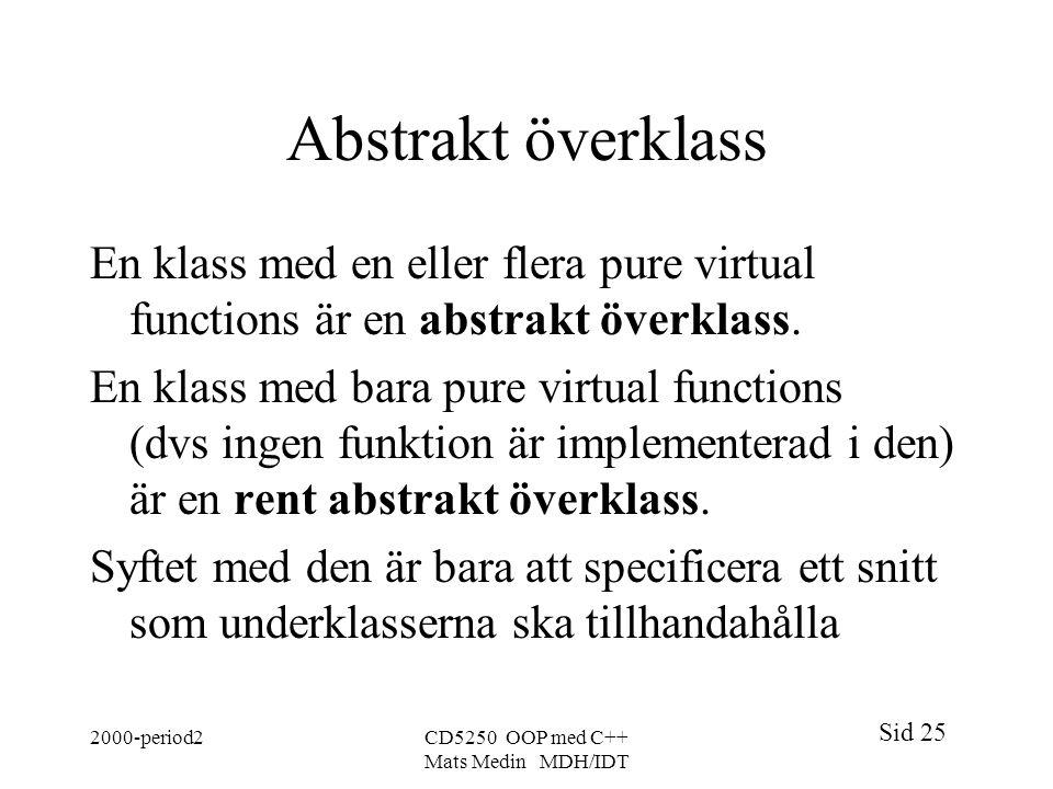 Abstrakt överklass En klass med en eller flera pure virtual functions är en abstrakt överklass.