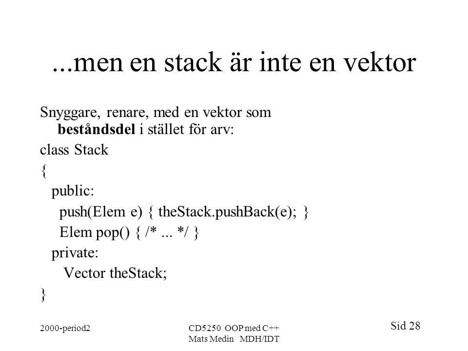 ...men en stack är inte en vektor
