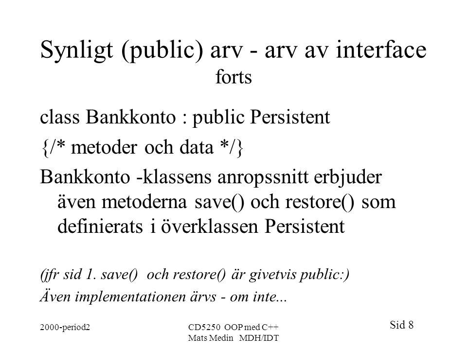 Synligt (public) arv - arv av interface forts