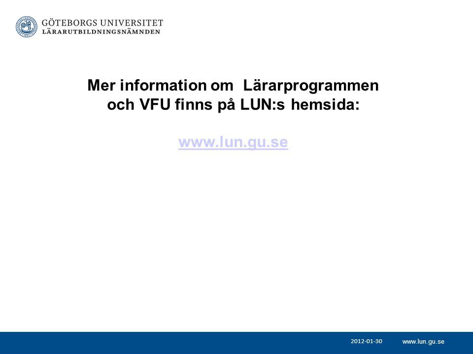 Mer information om Lärarprogrammen och VFU finns på LUN:s hemsida: