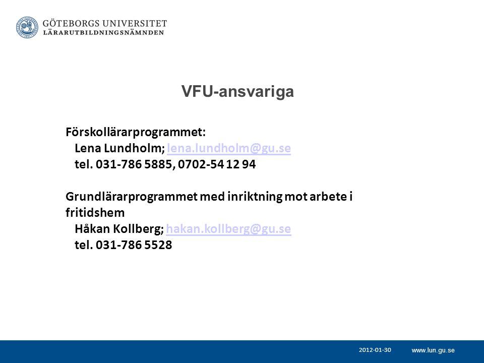 VFU-ansvariga Förskollärarprogrammet:
