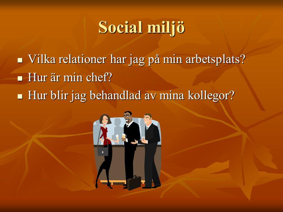 Social miljö Vilka relationer har jag på min arbetsplats