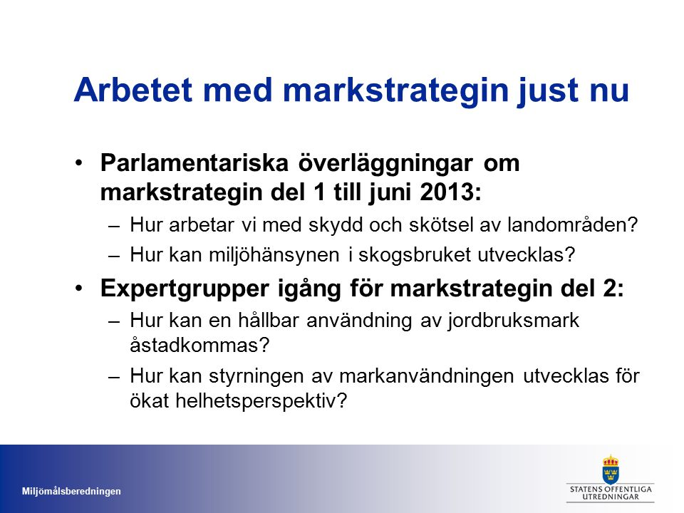 Arbetet med markstrategin just nu