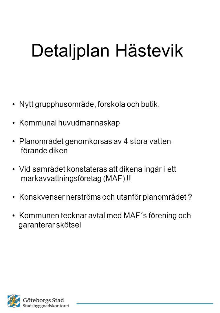 Detaljplan Hästevik Nytt grupphusområde, förskola och butik.