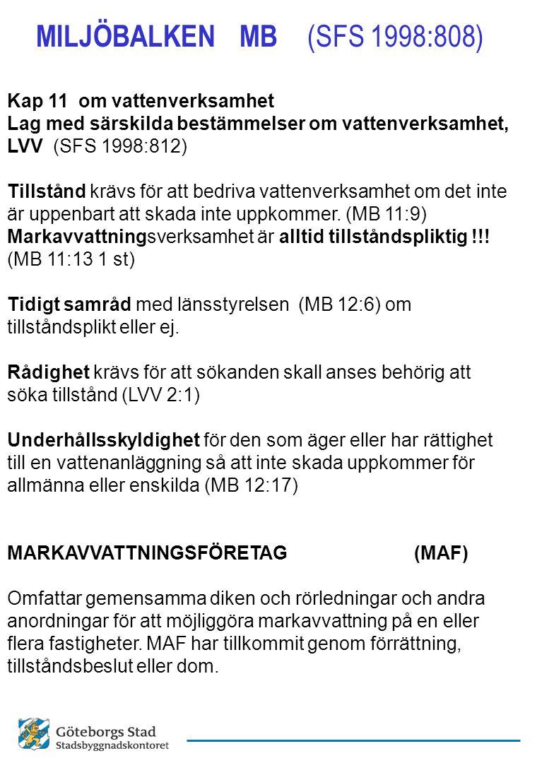 MILJÖBALKEN MB (SFS 1998:808) Kap 11 om vattenverksamhet