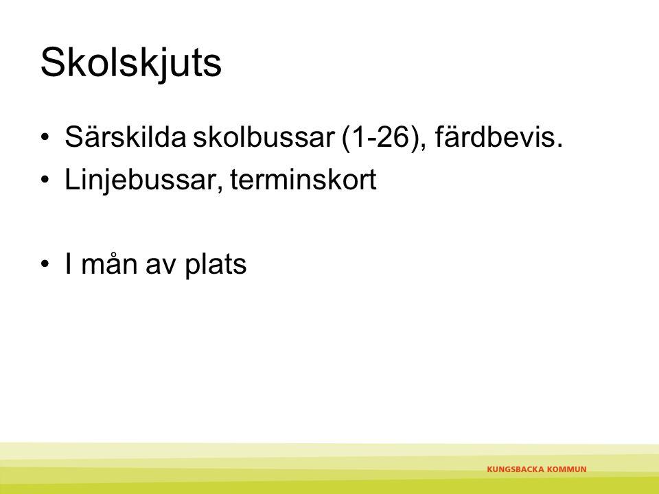 Skolskjuts Särskilda skolbussar (1-26), färdbevis.