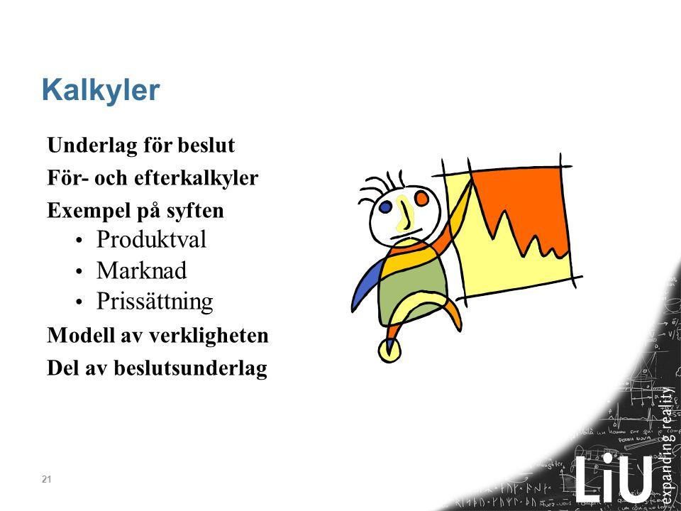 Kalkyler Produktval Marknad Prissättning Underlag för beslut