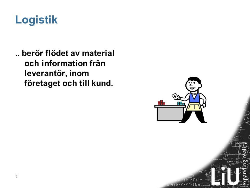 Logistik .. berör flödet av material och information från leverantör, inom företaget och till kund.