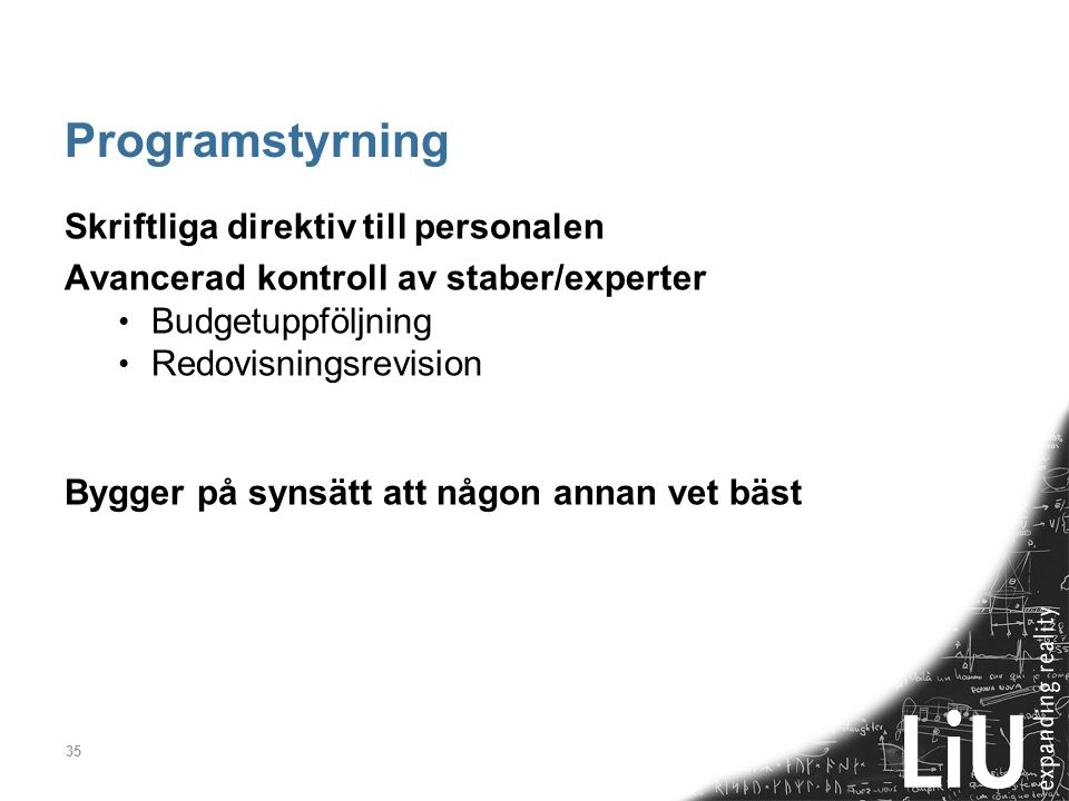 Programstyrning Skriftliga direktiv till personalen