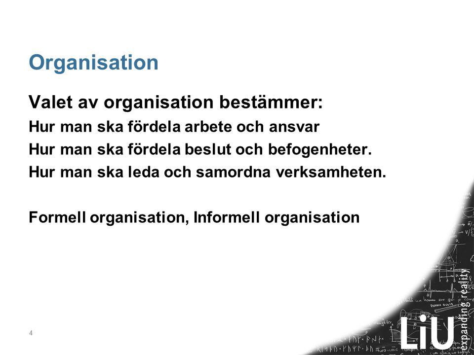 Organisation Valet av organisation bestämmer: