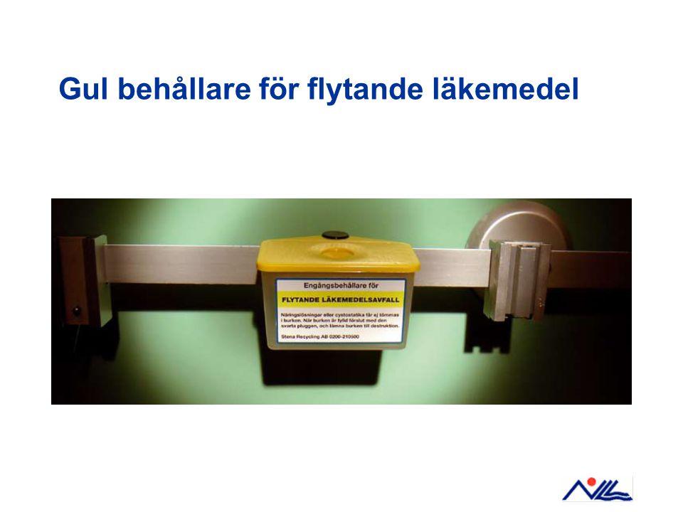 Gul behållare för flytande läkemedel