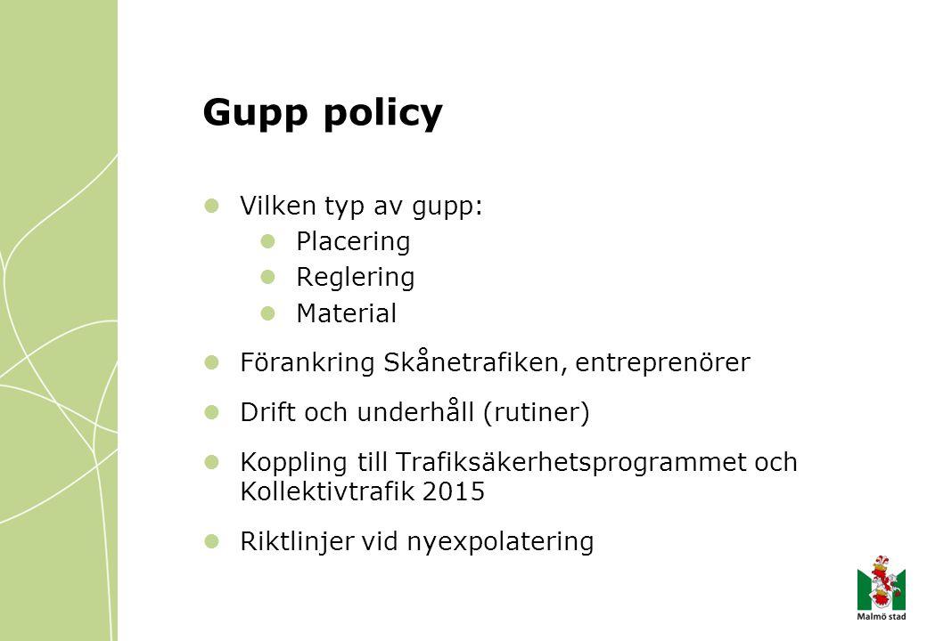 Gupp policy Vilken typ av gupp: Placering Reglering Material