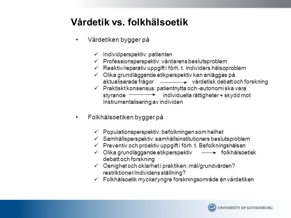 Vårdetik vs. folkhälsoetik
