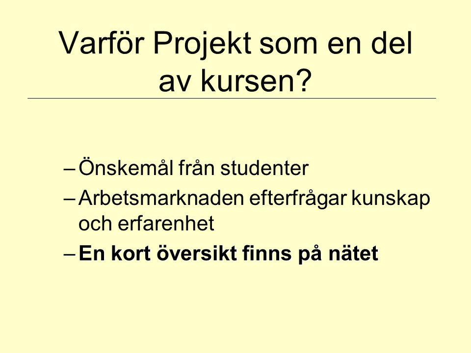 Varför Projekt som en del av kursen