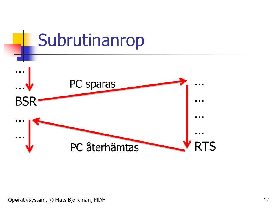 Subrutinanrop … … BSR RTS PC sparas PC återhämtas