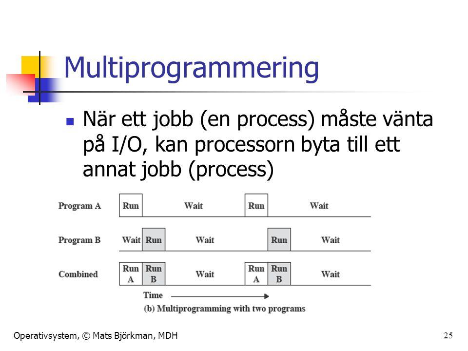 Multiprogrammering När ett jobb (en process) måste vänta på I/O, kan processorn byta till ett annat jobb (process)