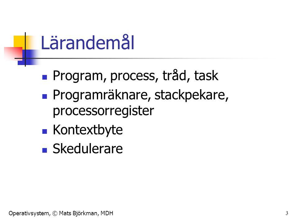 Lärandemål Program, process, tråd, task