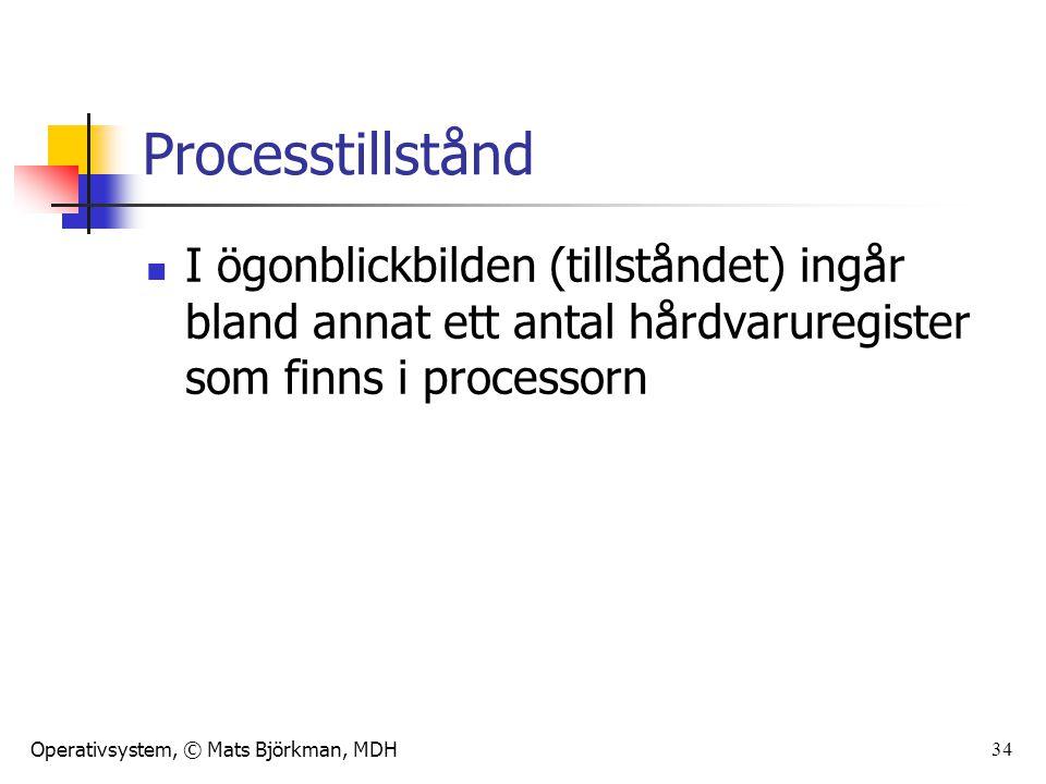 Processtillstånd I ögonblickbilden (tillståndet) ingår bland annat ett antal hårdvaruregister som finns i processorn.