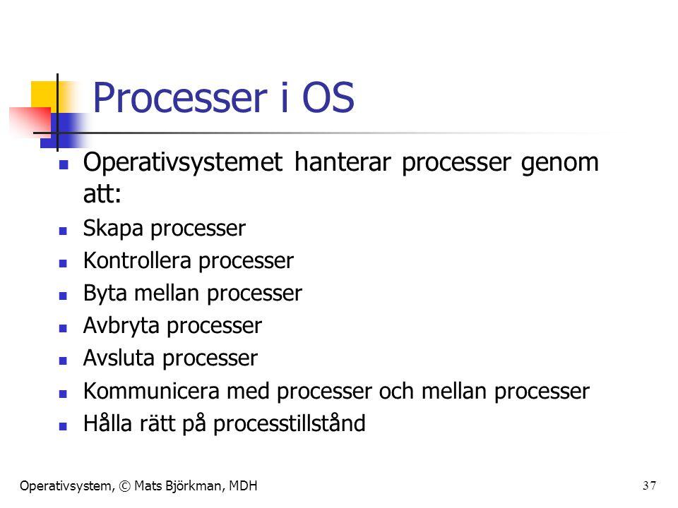 Processer i OS Operativsystemet hanterar processer genom att: