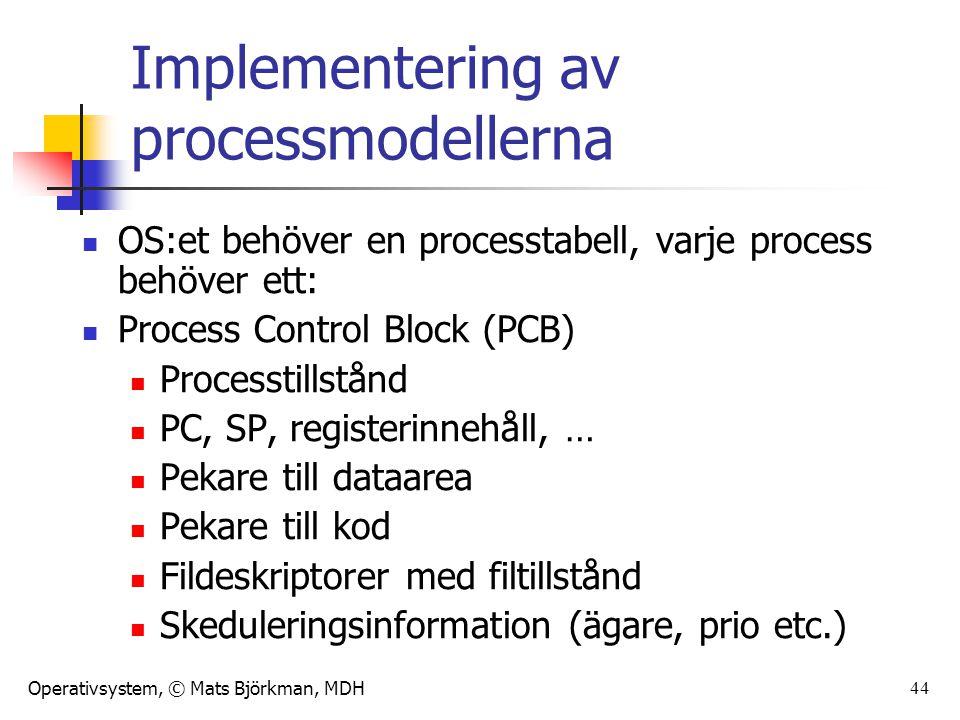 Implementering av processmodellerna