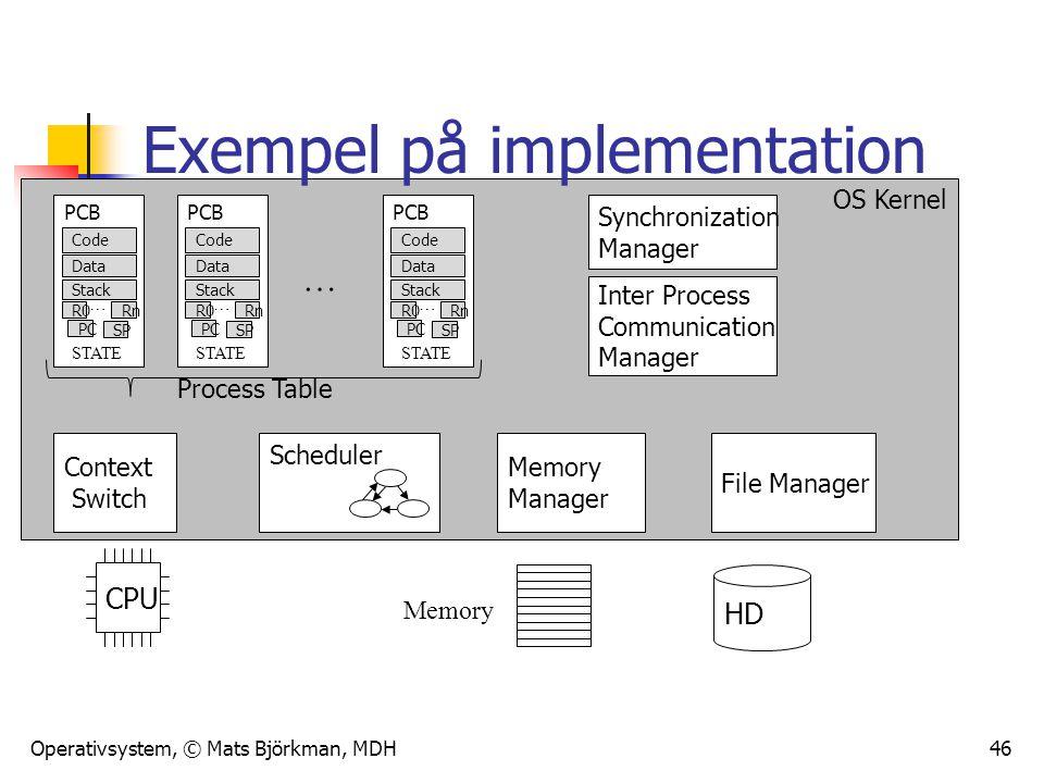 Exempel på implementation