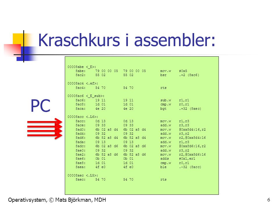 Kraschkurs i assembler: