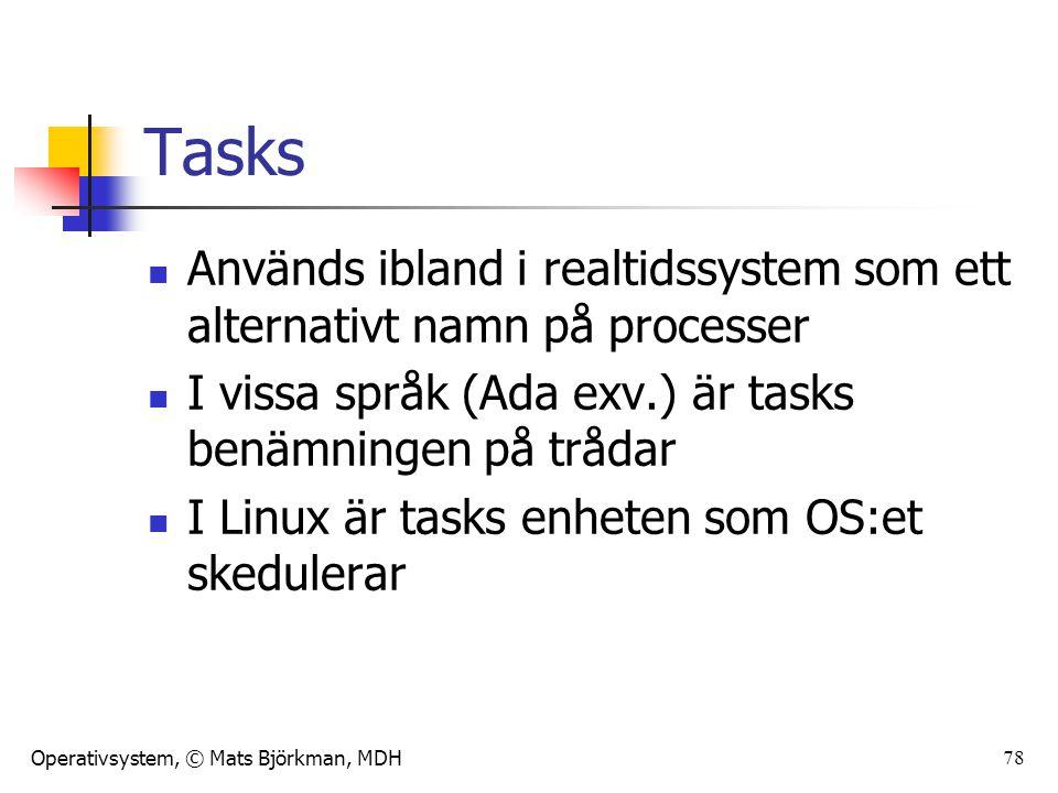 Tasks Används ibland i realtidssystem som ett alternativt namn på processer. I vissa språk (Ada exv.) är tasks benämningen på trådar.