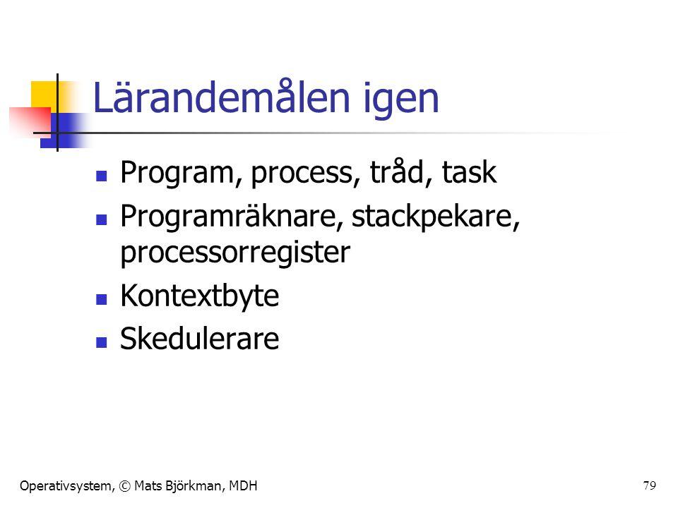 Lärandemålen igen Program, process, tråd, task