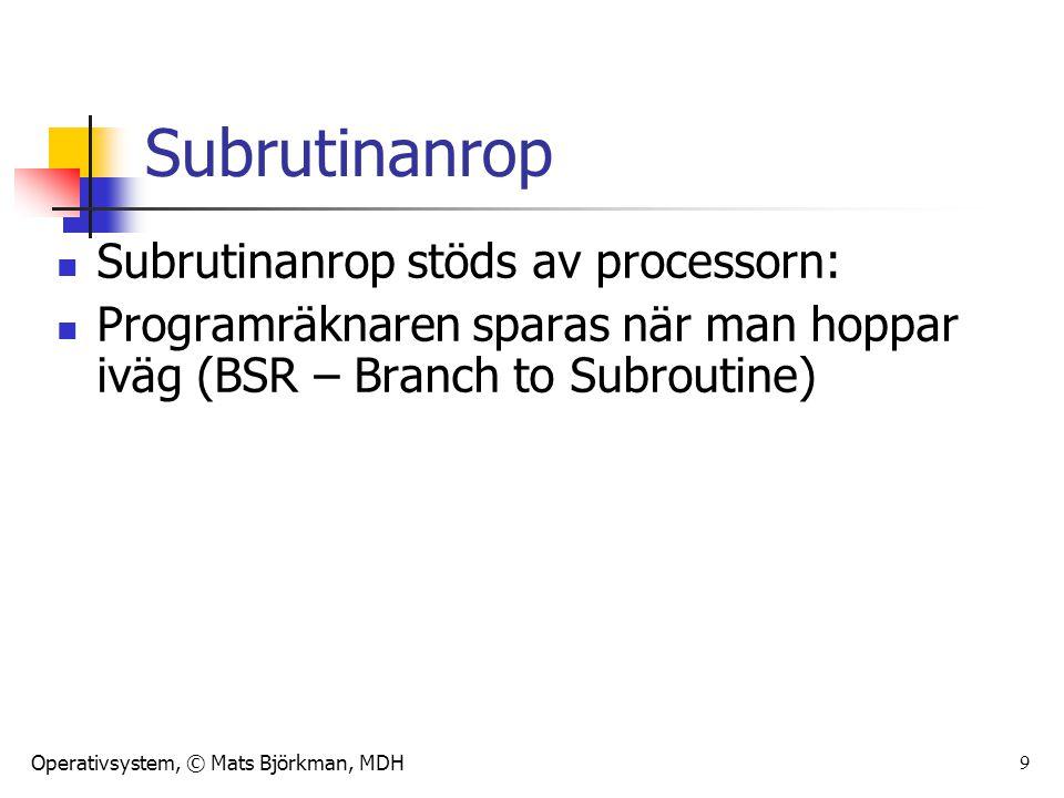 Subrutinanrop Subrutinanrop stöds av processorn: