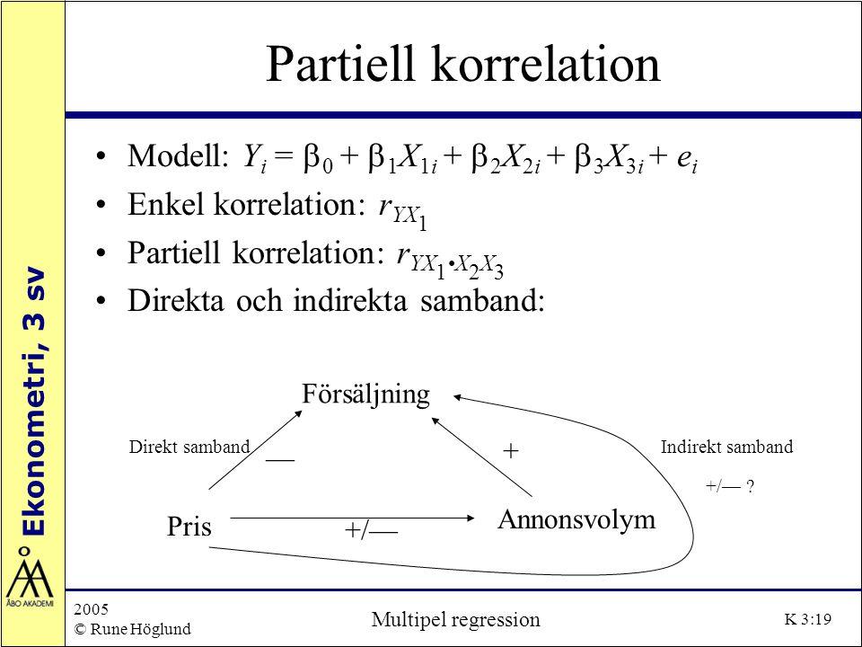 Partiell korrelation Modell: Yi = b0 + b1X1i + b2X2i + b3X3i + ei