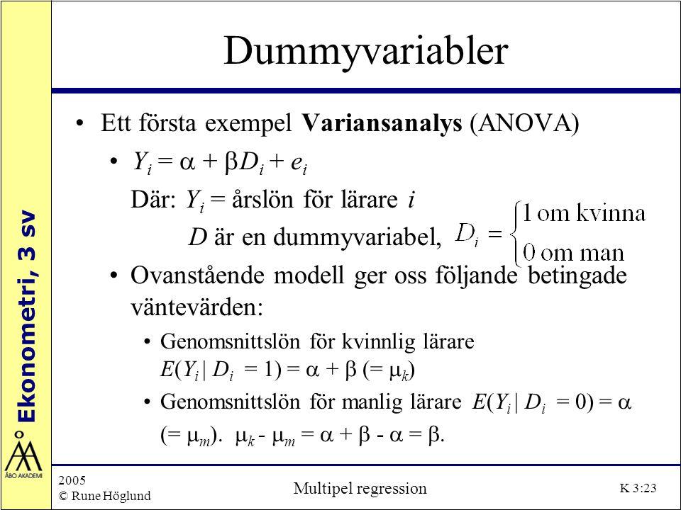Dummyvariabler Ett första exempel Variansanalys (ANOVA)
