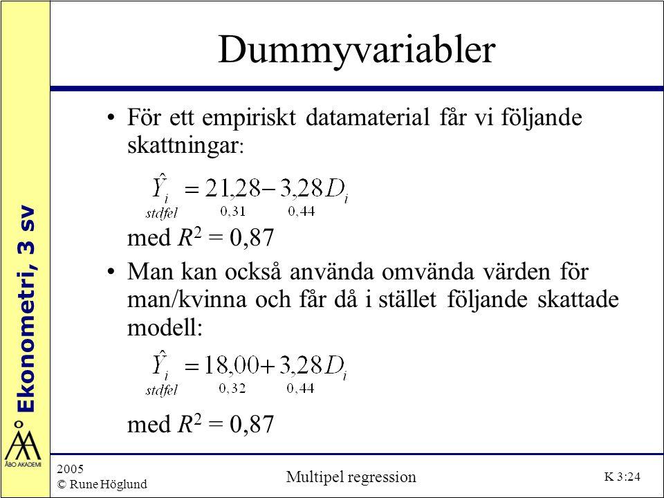Dummyvariabler För ett empiriskt datamaterial får vi följande skattningar: med R2 = 0,87.