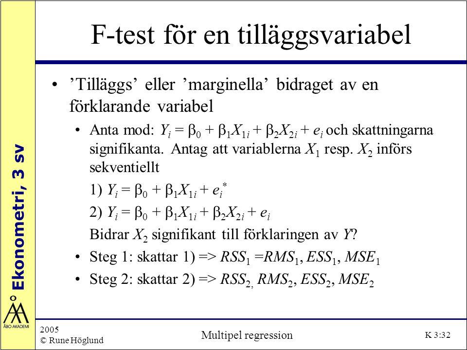 F-test för en tilläggsvariabel