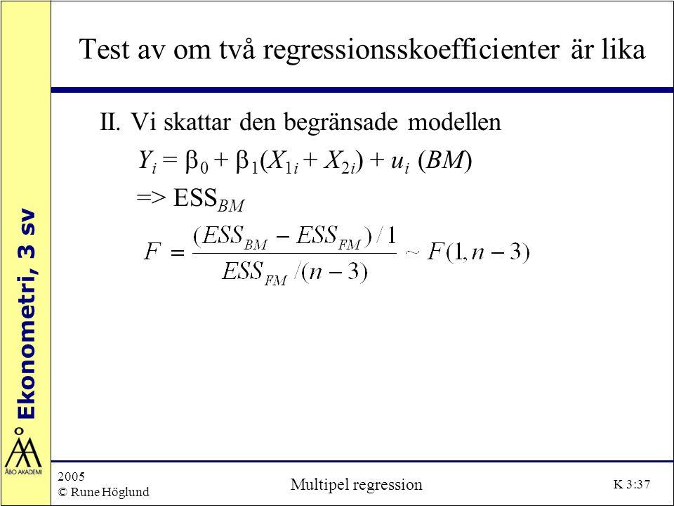 Test av om två regressionsskoefficienter är lika