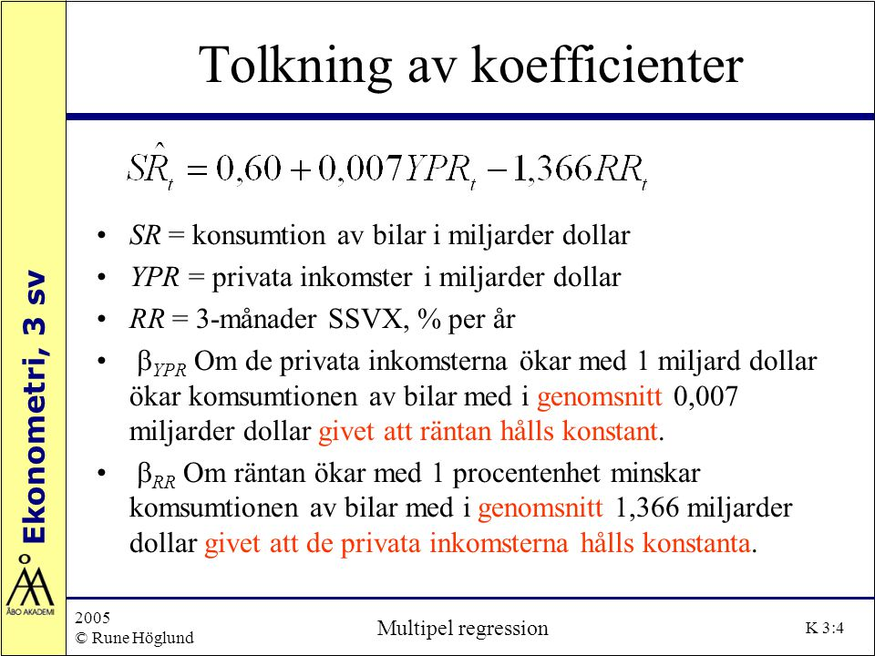 Tolkning av koefficienter