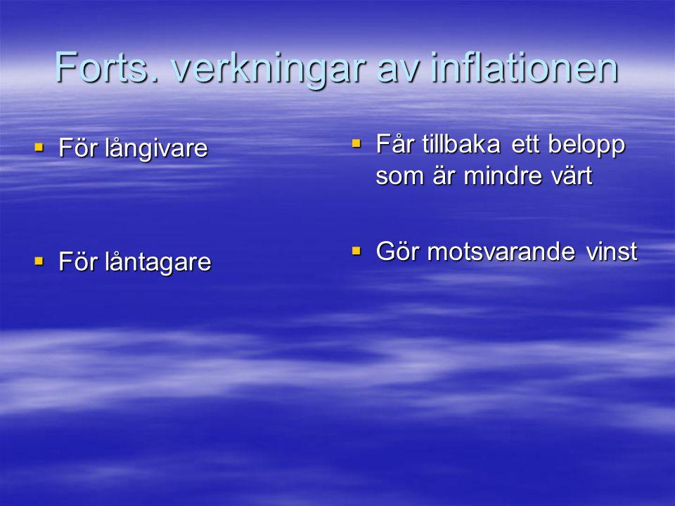 Forts. verkningar av inflationen