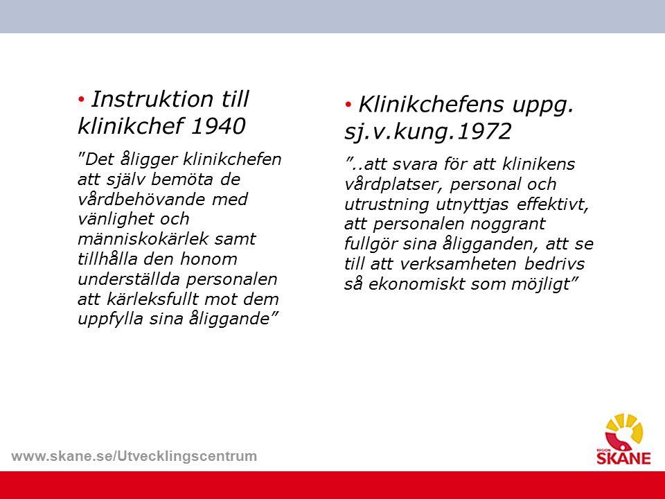 Instruktion till klinikchef 1940 Klinikchefens uppg. sj.v.kung.1972