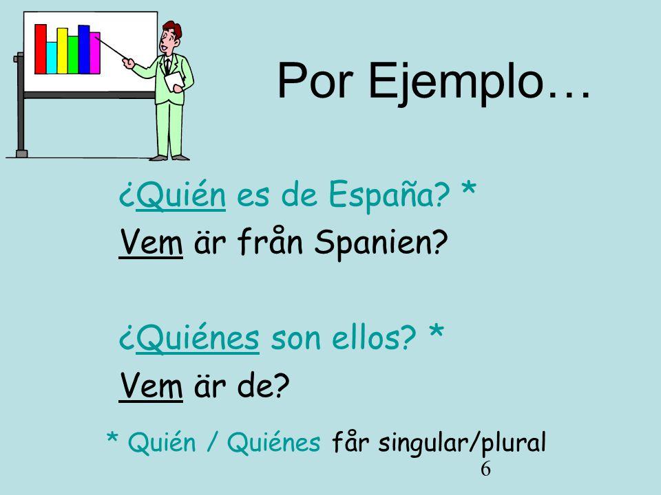 * Quién / Quiénes får singular/plural