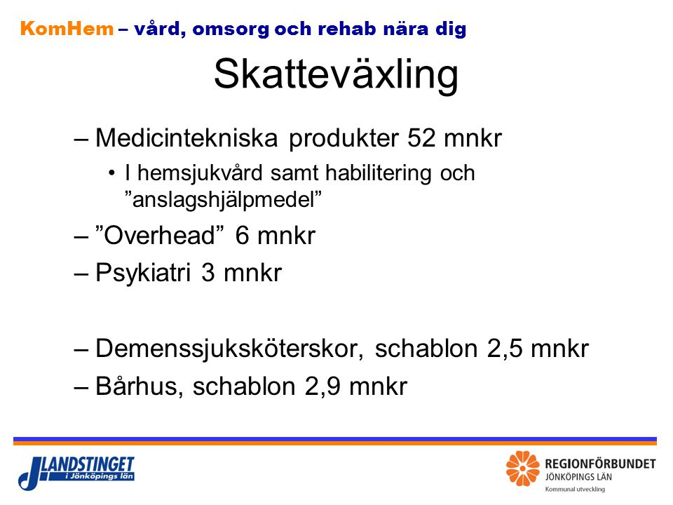 Skatteväxling Medicintekniska produkter 52 mnkr Overhead 6 mnkr