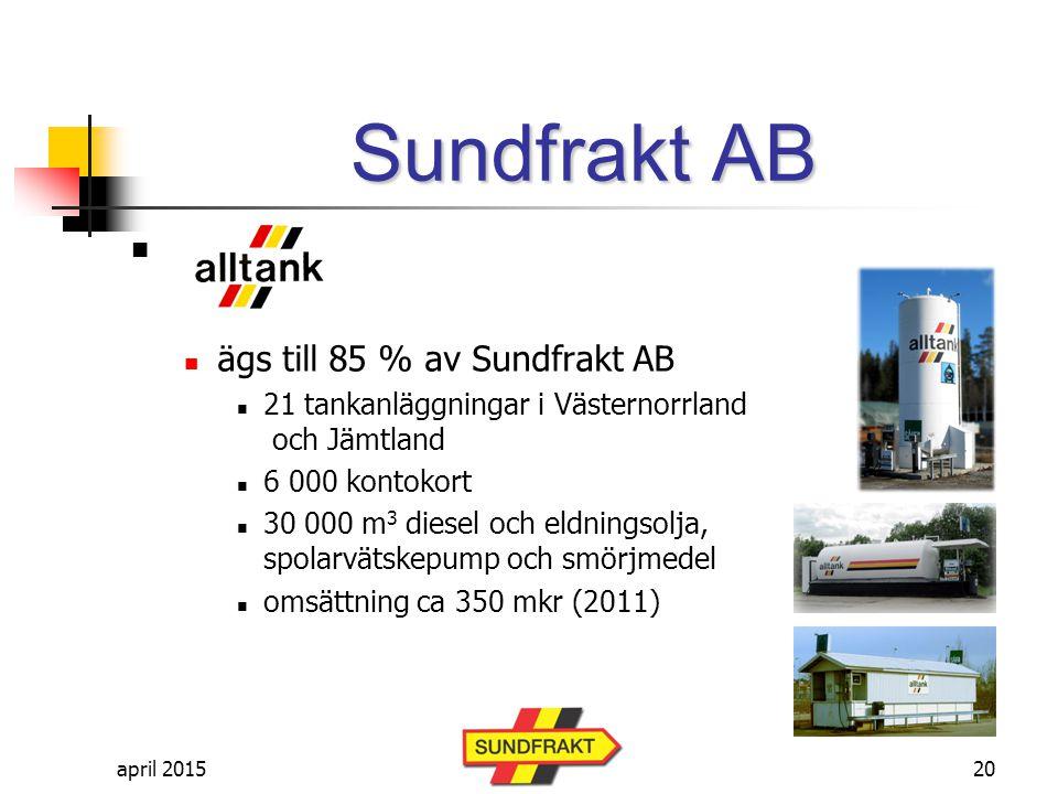 Sundfrakt AB ägs till 85 % av Sundfrakt AB