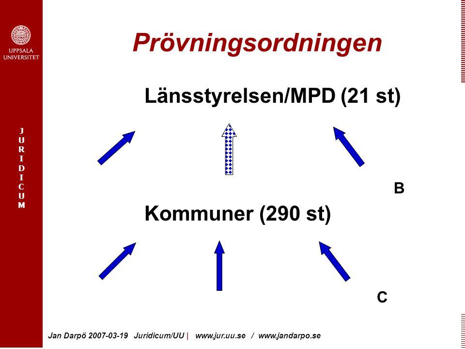 Prövningsordningen Länsstyrelsen/MPD (21 st) B Kommuner (290 st) C
