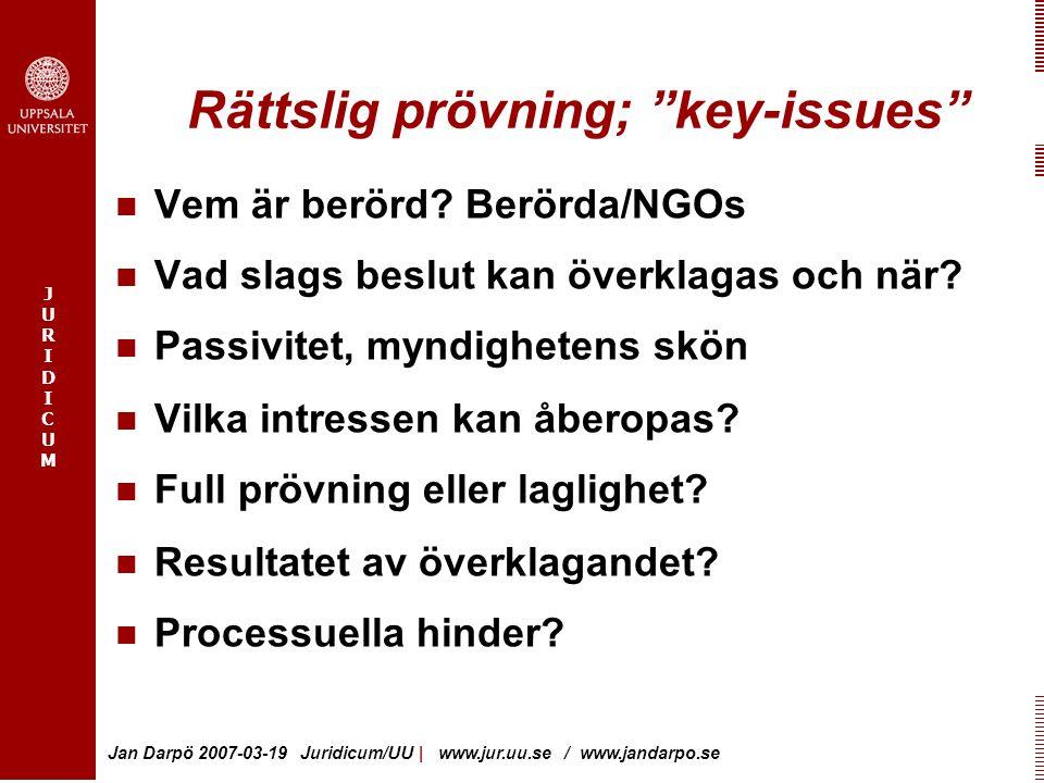 Rättslig prövning; key-issues