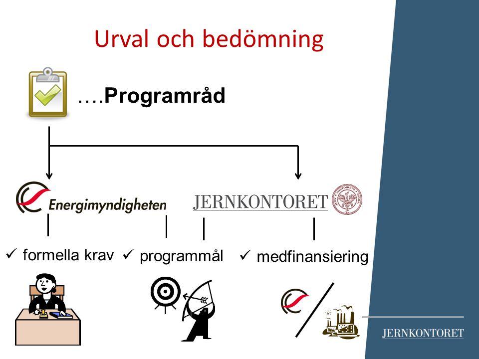 Urval och bedömning ….Programråd formella krav programmål